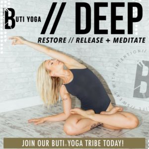 "DEEP is a unique, innovative class by Buti. It's a LOW-impact yoga movement class that is restorative & strengthening to the deep abdominal muscles/inner core while repairing brain/body connections. It includes self-massage, hip & heart openers … all cultivating a DEEP ""work-in"" with an underlying message of self-love & appreciation. Although it is low & slow, you'll definitely feel this class! The deep micro-movements & hand positions used in this class help repair ab separation (great for postpartum women & ladies who have had c-sections). Who is DEEP for? Anyone looking to build a stronger core, release tension, and build better communication with YOUR body (except for you expecting mamas, but come back post baby for the best recovery ever)!"